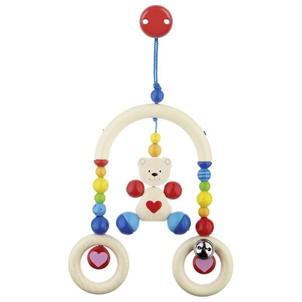 Дървена бебешка играчка за количка Мече с клипс-bellamiestore