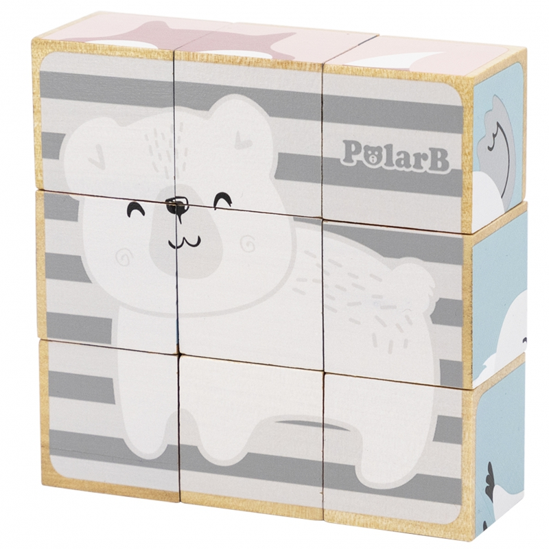 Дървени кубчета и пъзел Моите приятели животните Polar B-bellamiestore