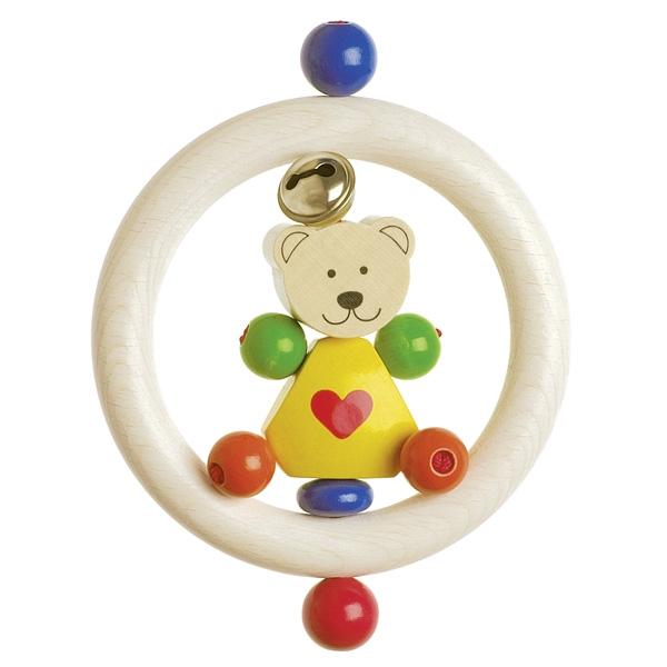 Детска дрънкалка от дърво Мече със звънче-bellamiestore