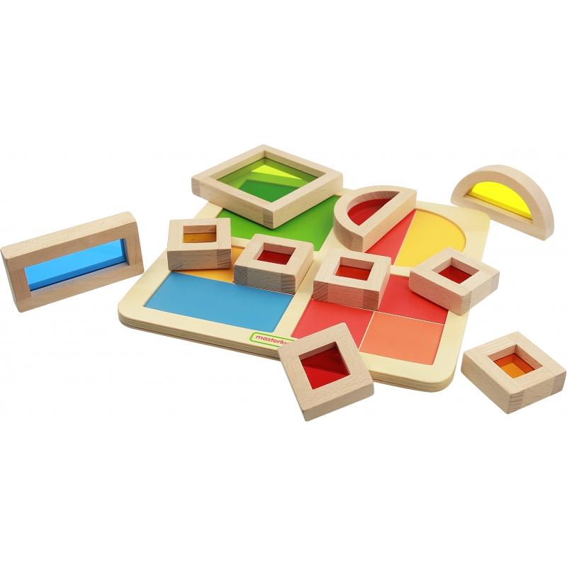 Дървена играчка с блокове за сортиране Дъга-bellamiestore