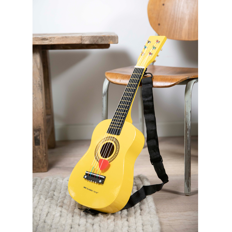 Дървена китара за деца жълта-bellamiestore