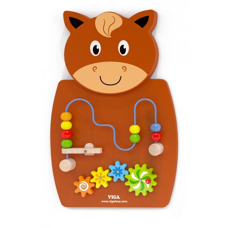 Дървена играчка с активности за стена Конче от Viga toys-bellamiestore