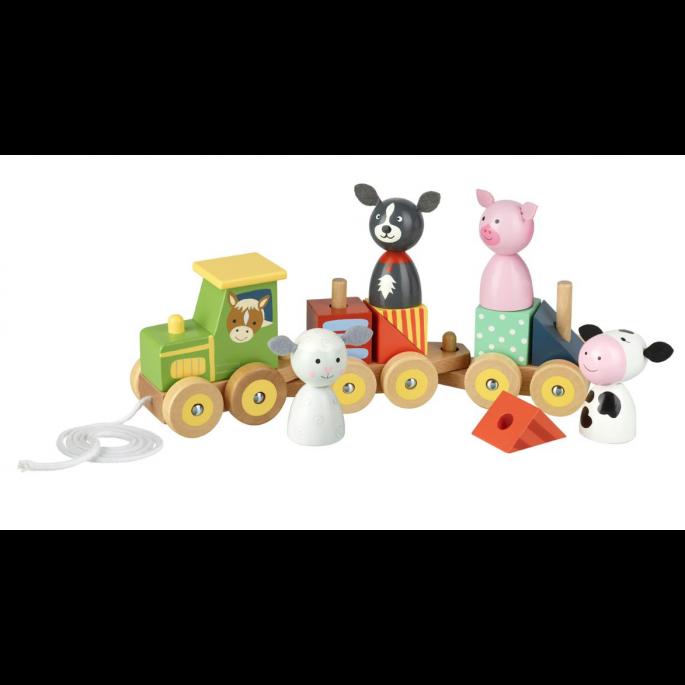 Дървена играчка - Трактор с животни от orange tree toys-bellamiestore