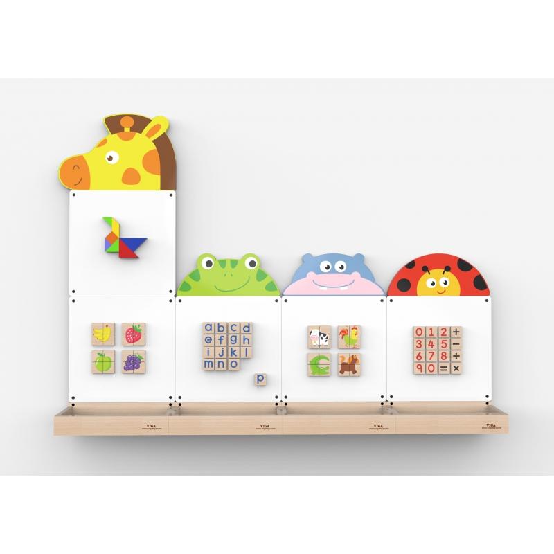 Дървена магнитна стена със животни за детски градини-bellamiestore