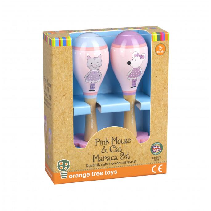 Детски дървени маракаси Розово Мишле-bellamiestore