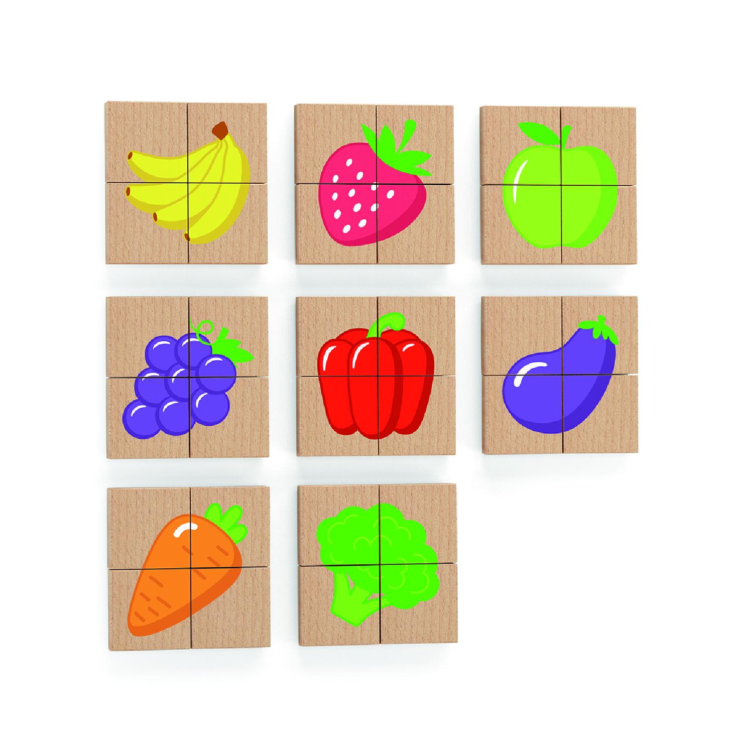 Дървен магнитен пъзел с плодове и зеленчуци от Viga toys-bellamiestore