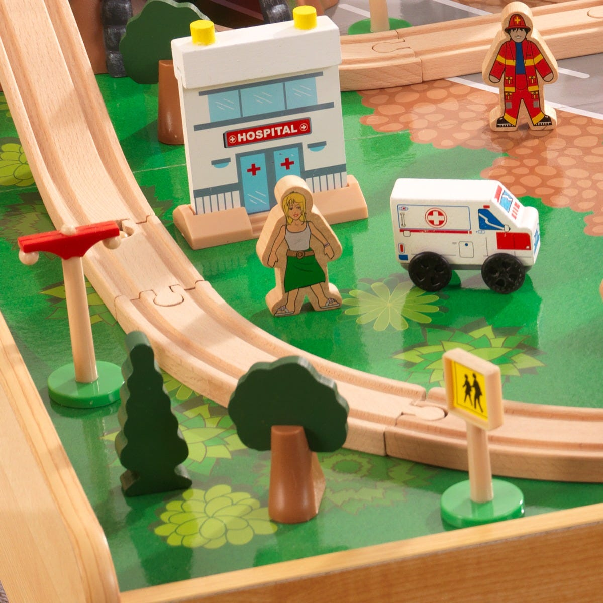 Детска дървена влакова писта с маса от KidKraft-bellamiestore