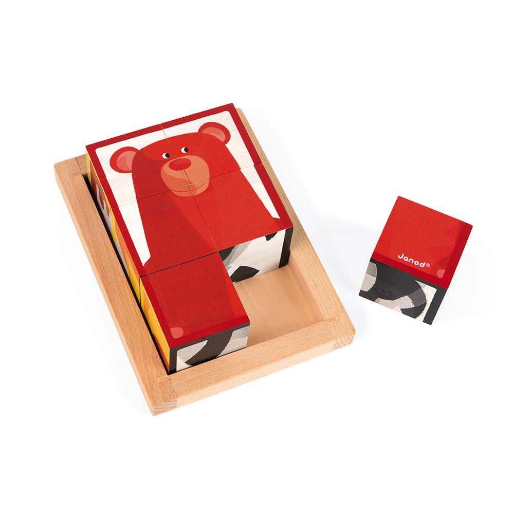 Janod Дървени кубчета с картинки Горски животни-bellamiestore
