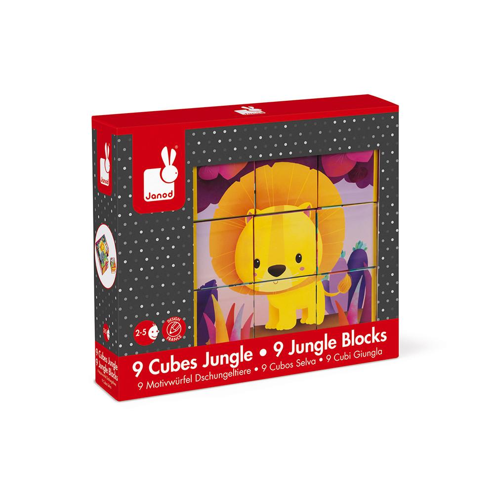 Janod детски картонени кубчета дивите животни-bellamiestore
