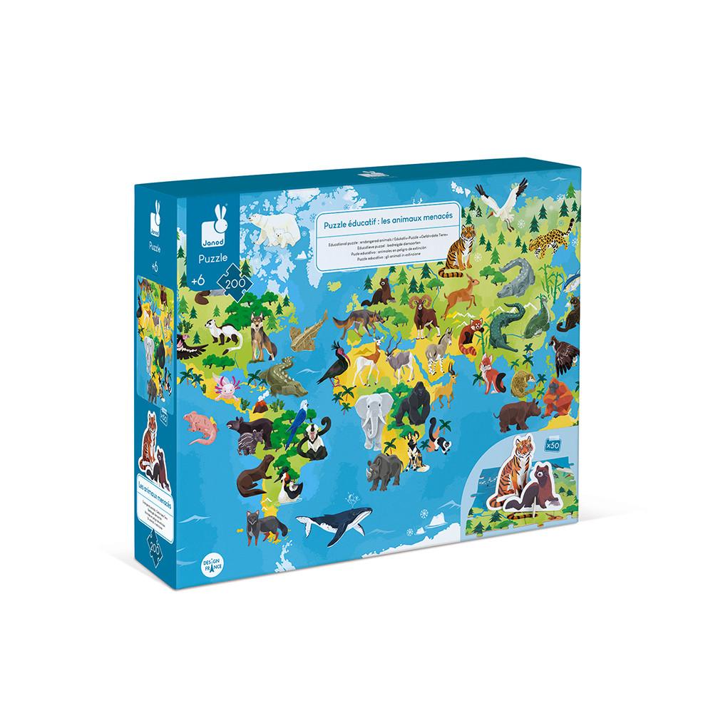 Образователен детски пъзел Света на животните с фигурки от 200 части - Janod-bellamiestore