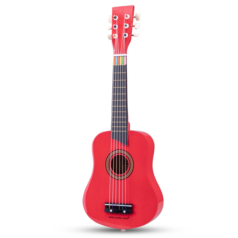 Червена детска китара с книжка с ноти-bellamiestore