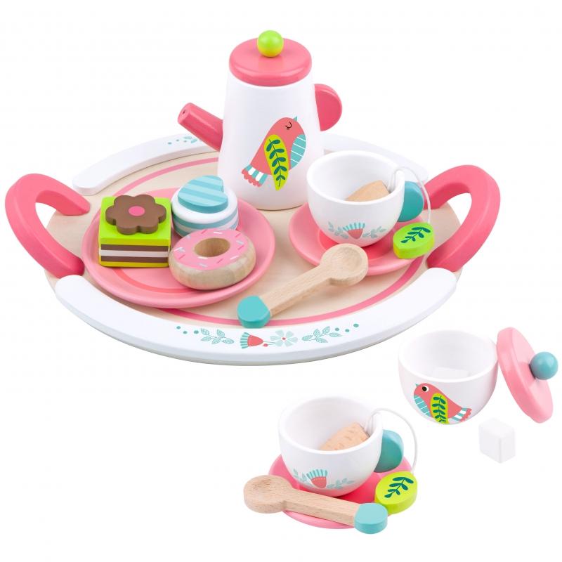 Дървена играчка - сервиз за чай с аксесоари от Tooky toy-bellamiestore