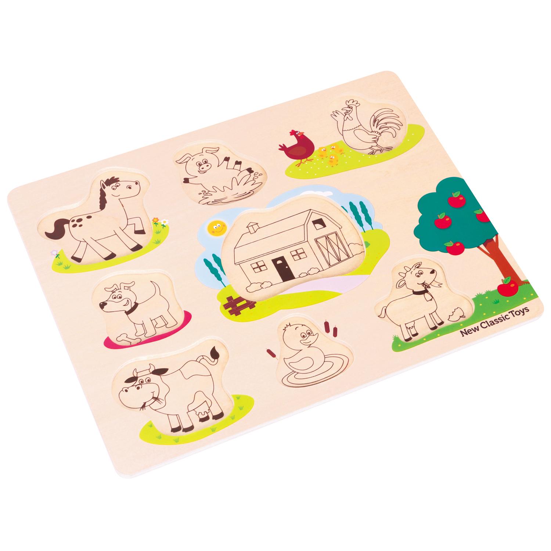 Детски пъзел с дръжки Живота във Фермата с FSC сертификат-bellamiestore