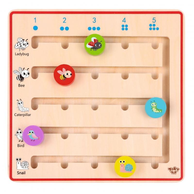 Дървена играчка Уча се да броя със животни от Tooky toy-bellamiestore