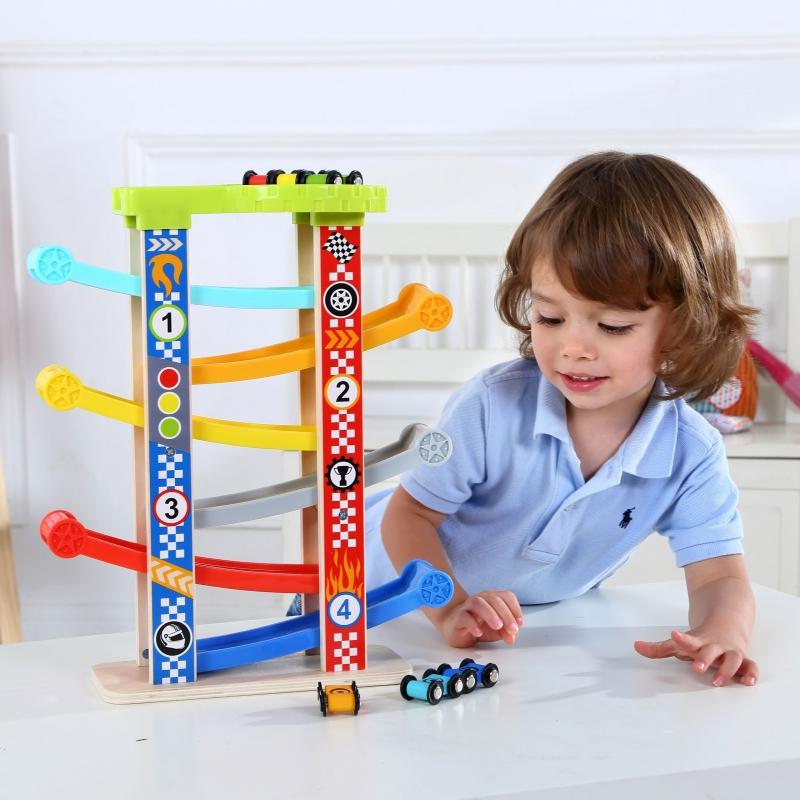 Цветна дървена писта с шест колички за игра-bellamiestore