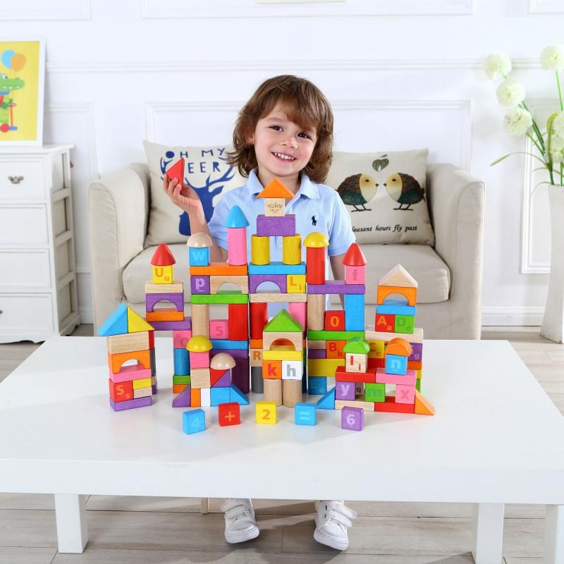 Дървен цветен конструктор от 130 части-bellamiestore