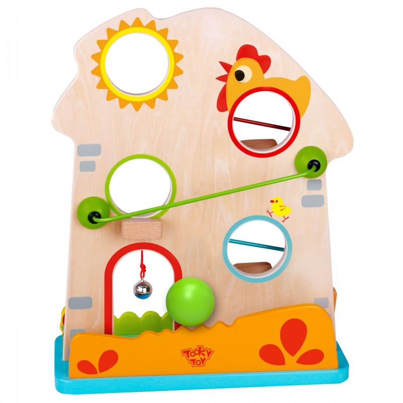 Дървен цветен ролбан с топки Кокошка от Tooky toy-bellamiestore