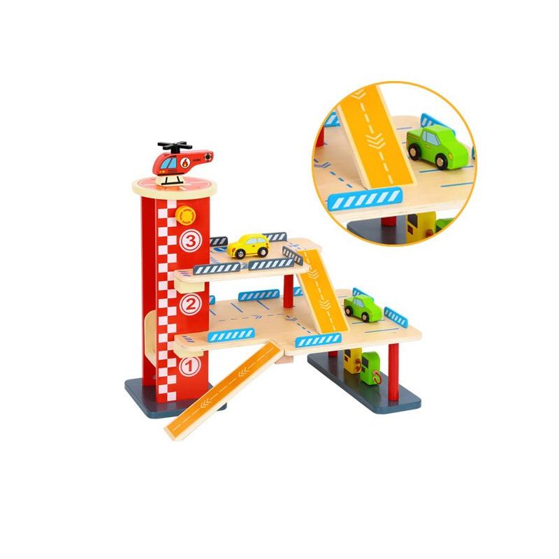 Дървена играчка за момчета Гараж за коли -bellamiestore