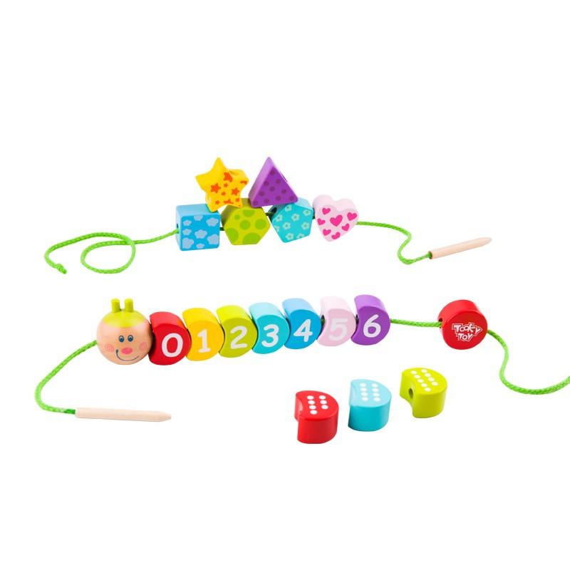 Дървена играчка за нанизване гъсеница от Tooky toy-bellamiestore