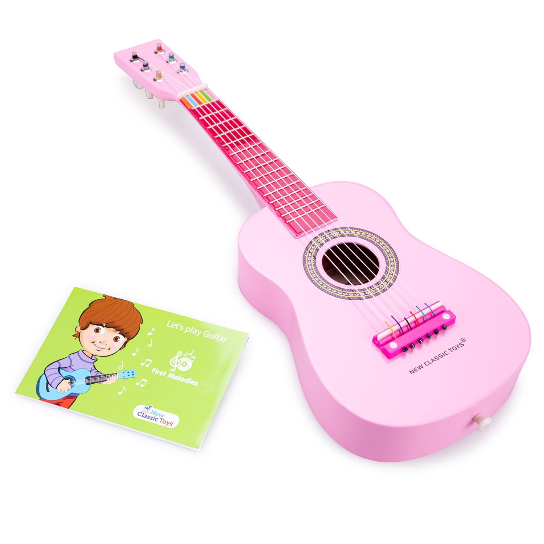 Детска розова китара от дърво New classic toys-bellamiestore