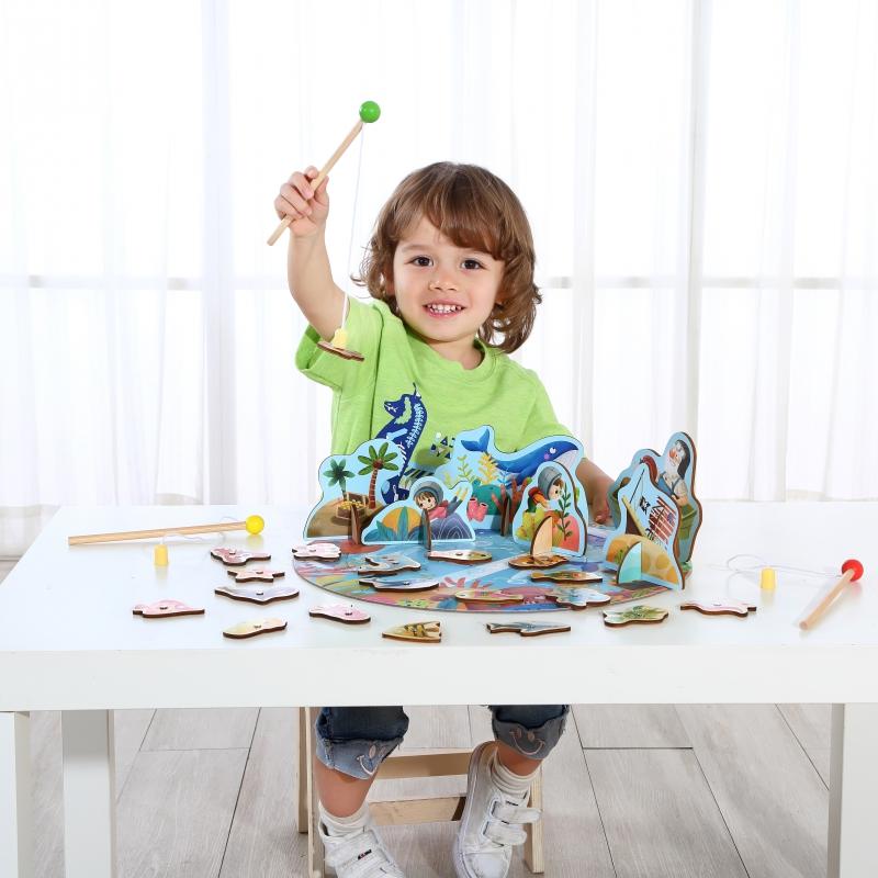 Детски пъзел и игра с рибки от Tooky toy-bellamiestore