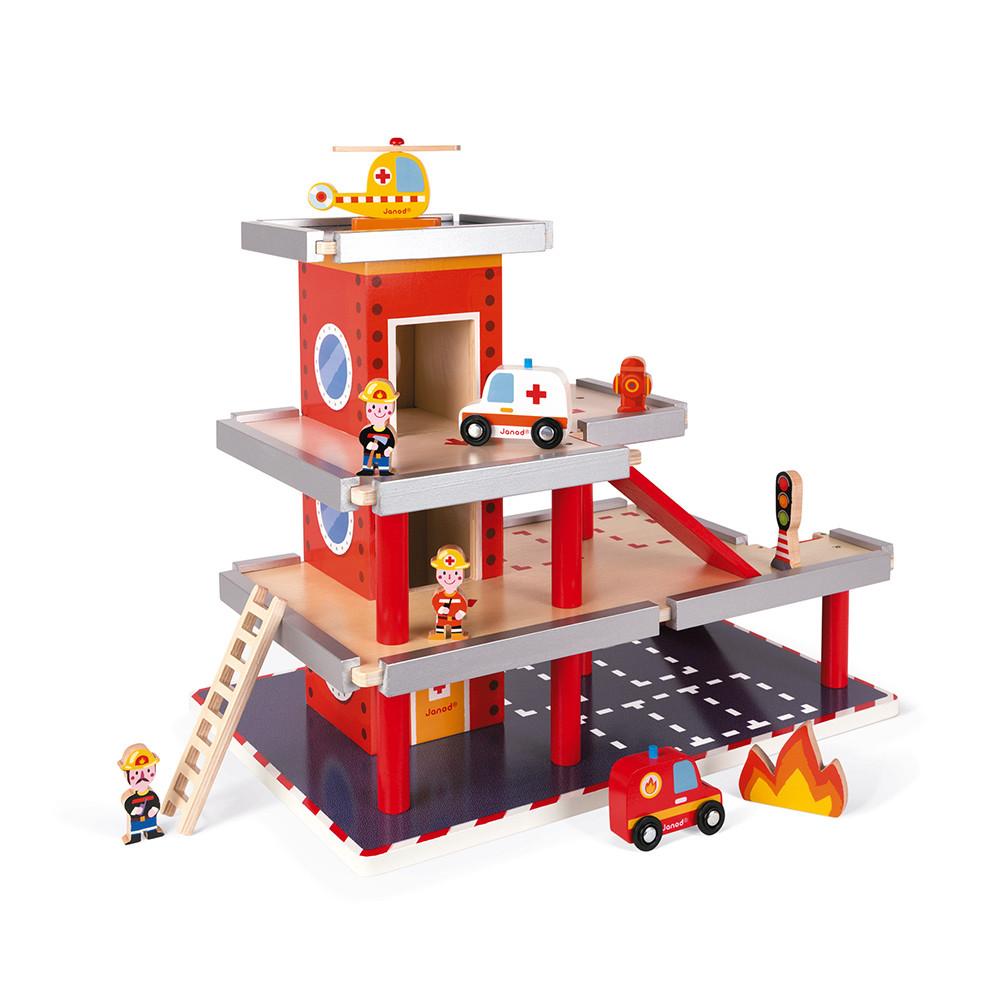 Janod дървена пожарна на три етажа-bellamiestore