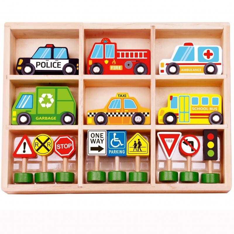 Комплект градски автомобили си пътни знаци от Tooky toy-bellamiestore