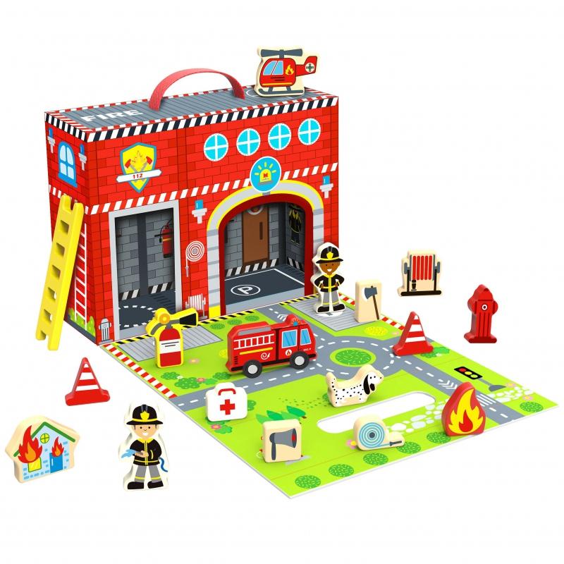 Комплект за игра Пожарна в куфарче от Tooky toy-bellamiestore