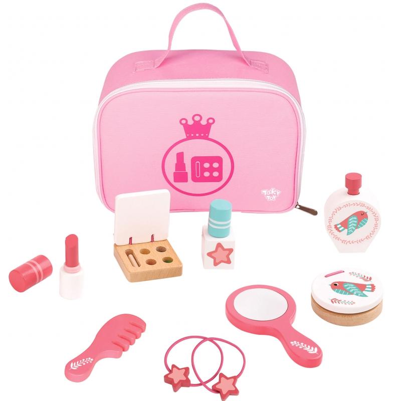 Розов козметичен комолект за деца от дърво - Tooky Toy- bellamiestore