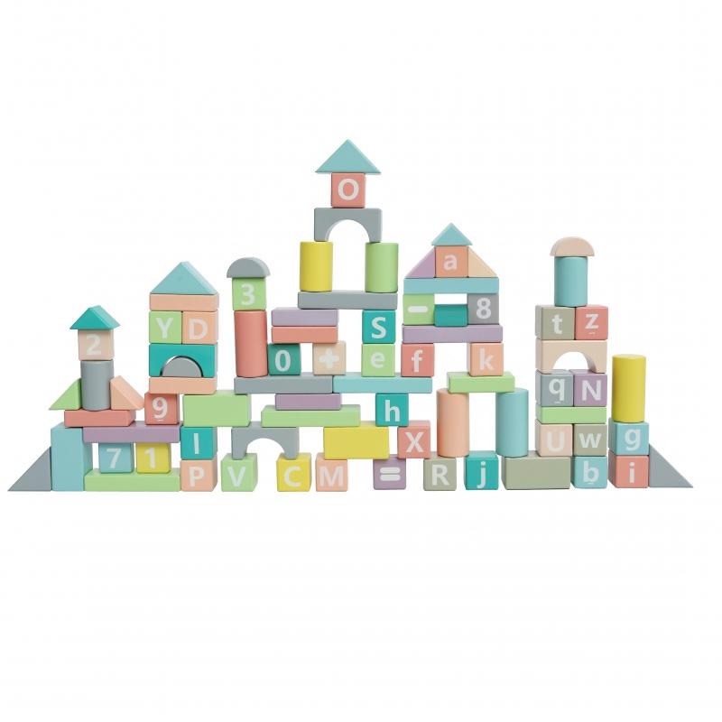 Tooky toy конструктор в пастелни цветове от 90 части-bellamiestore