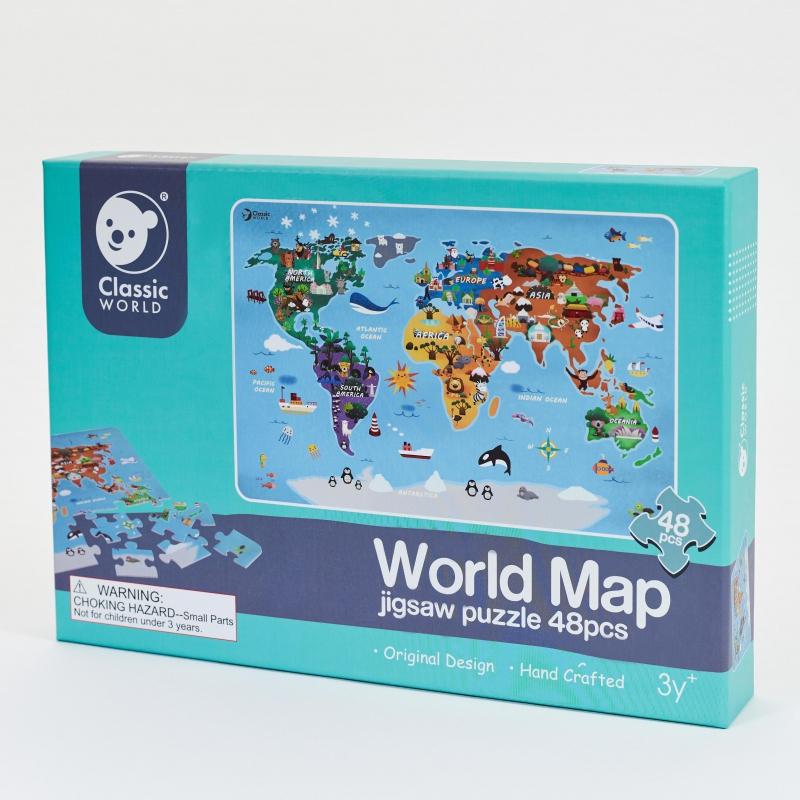 Classic world детски пъзел Карта на света от 48 части-bellamiestore