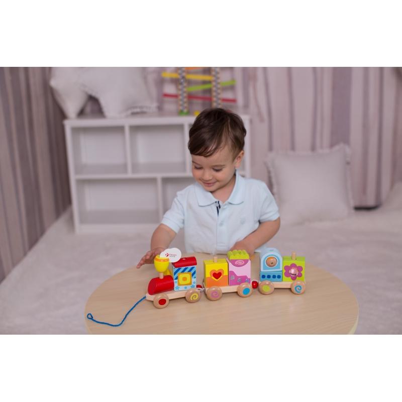 Classic world детско дървено влкаче и конструктор-bellamiestore
