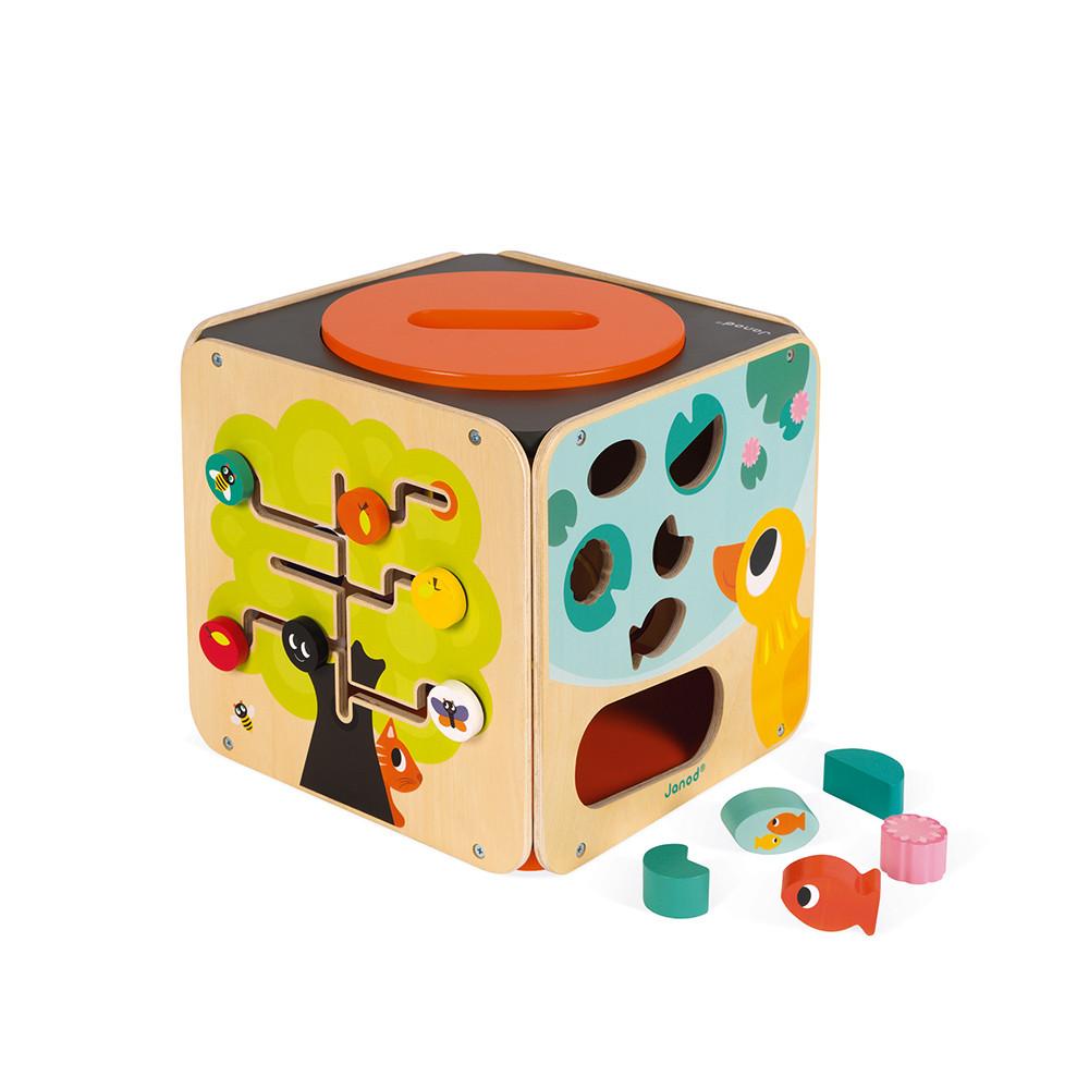 Дървен дидактически куб с игри от Janod-bellamiestore