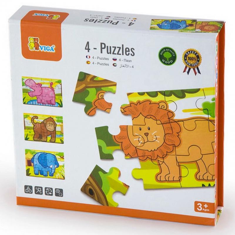 Дървен пъзел с животни 4 броя от Viga toys-bellamiestore