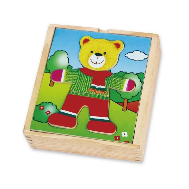 Дървена играчка и пъзел - Облечи Мечо от Viga toys-bellamiestore