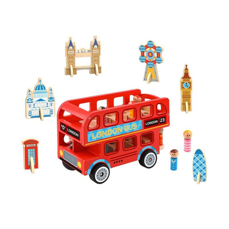 Дървена играчка Лондонски автобус от Tooky toy-bellamiestore