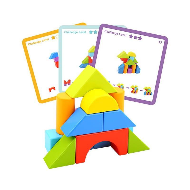 Дървена играчка с геометрични блокчета от Tooky Toy-bellamiestore
