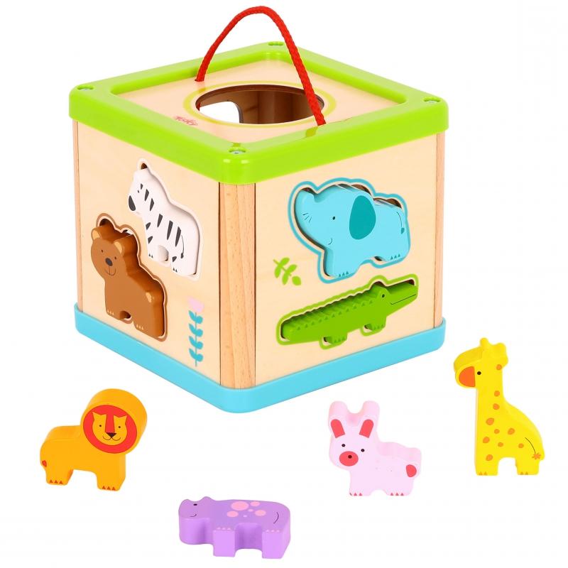Дървено кубче за сортиране с животни от Tooky toy-bellamiestore
