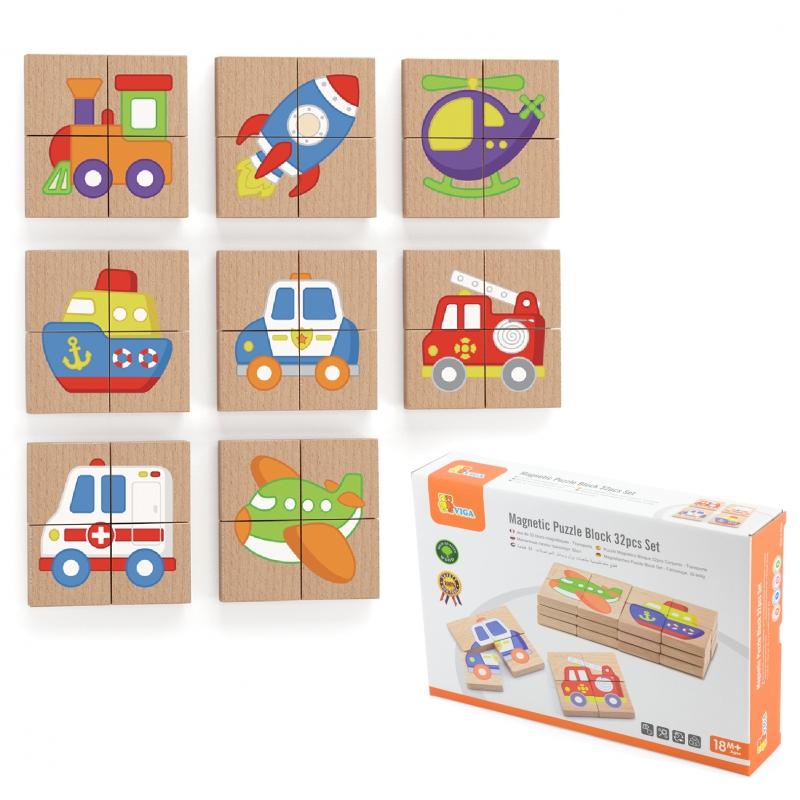 Детски магнитен пъзел за дъска транспортни средства от Viga-bellamiestore