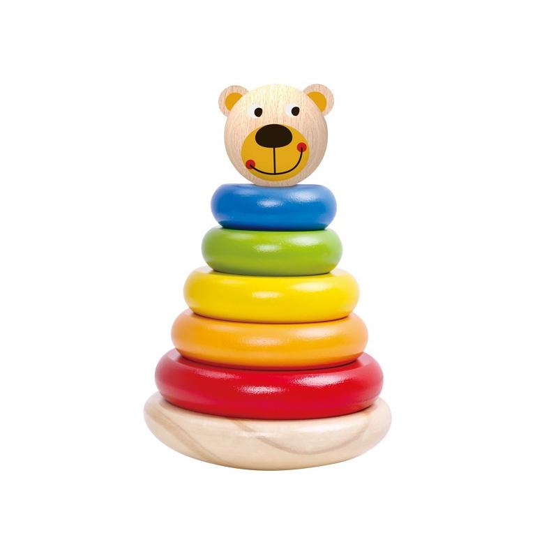 Tooky toy дървена цветна пирамидка Мече-bellamiestore