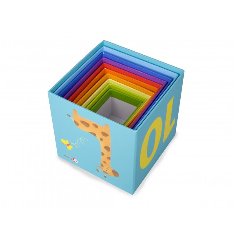 Цветна пирамада Джунглата от картонени кубчета-bellamiestore