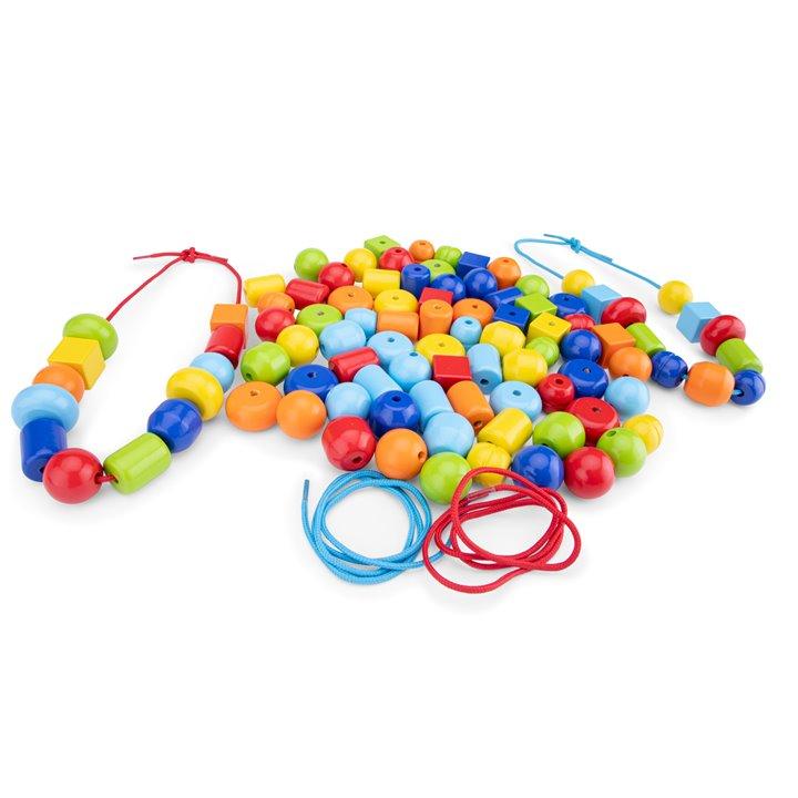 Цветни дървени мъниста за нанизване от New classic toys-bellamiestore
