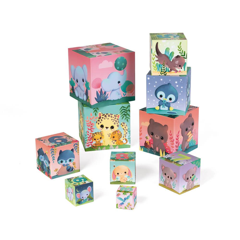 Цветни картонени кубчета - Сладките животни от Janod-bellamiestore