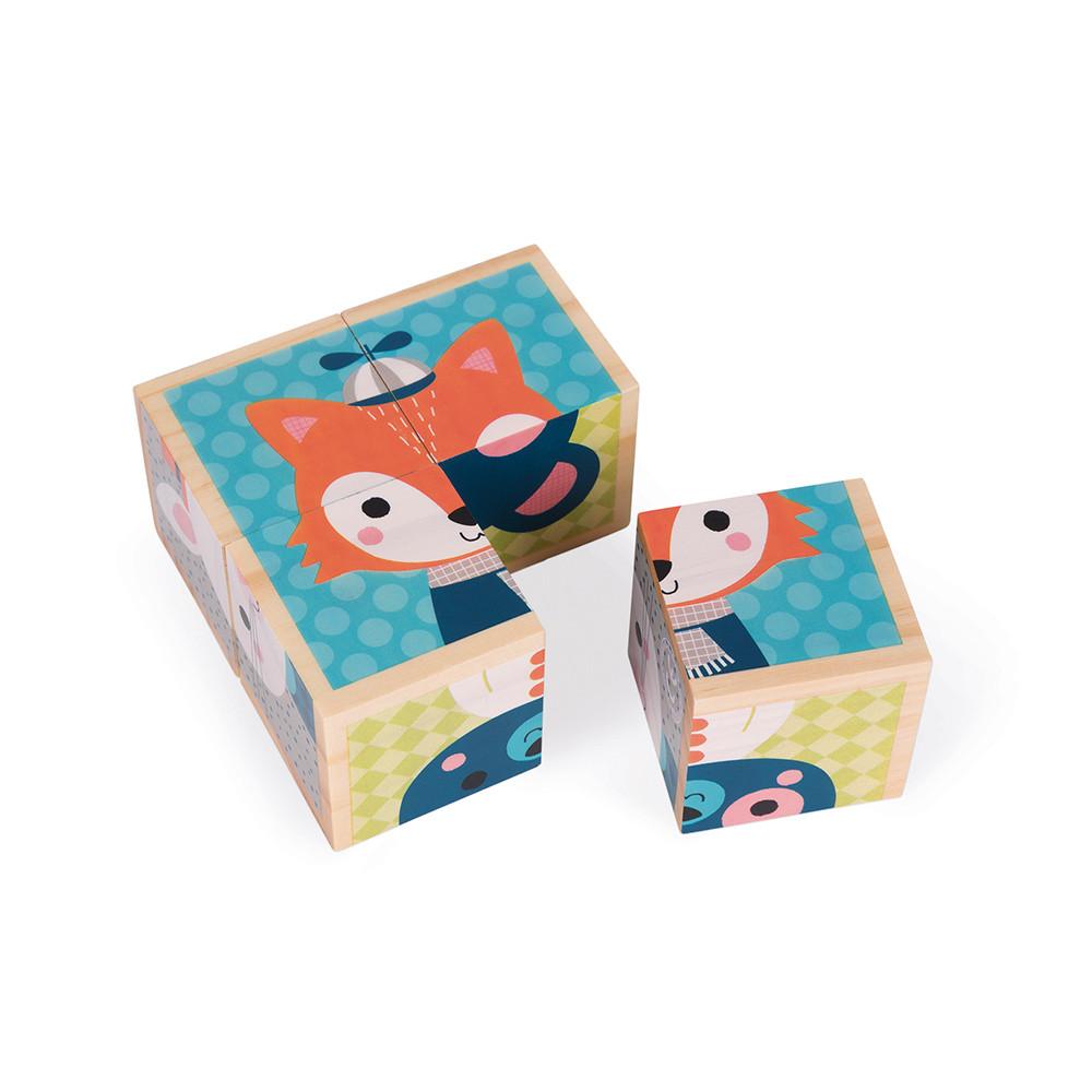Дървени кубчета Горски животни 4 броя от Janod-bellamiestore