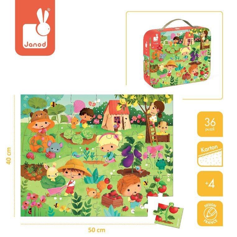 Детски пъзел в куфарче Зеленчукова градина от Janod-bellamiestore