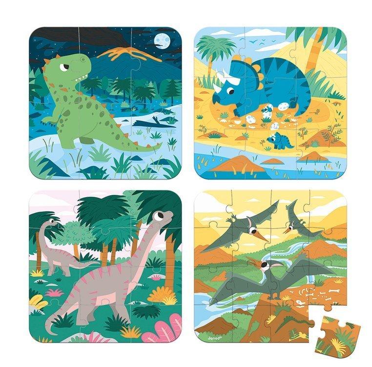 Пъзел с повишаващата трудност 4 бр. Динозаври от Janod-bellamiestore
