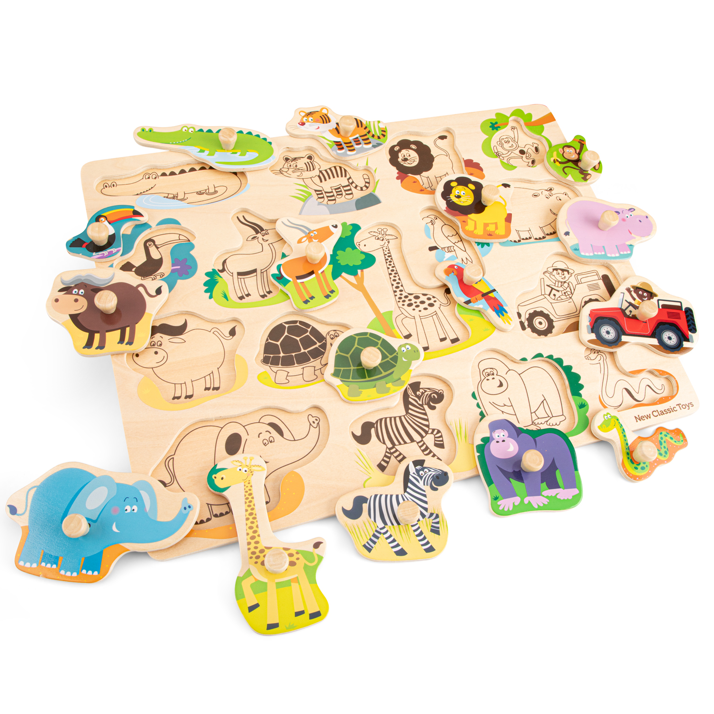 New classic toys дървен пъзел Сафари с дръжки-bellamiestore