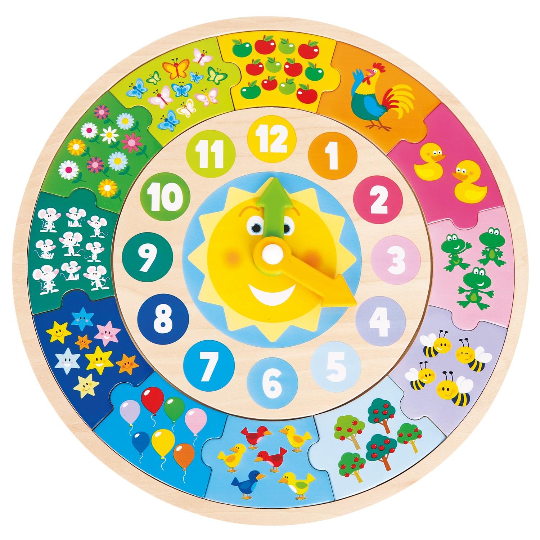 Дървен цветен часовник и детски пъзел от New classic toys-bellamiestore