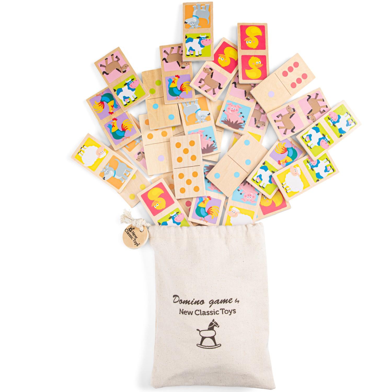 Детско дървено домино с животни и точки от New classic toys-bellamiestore