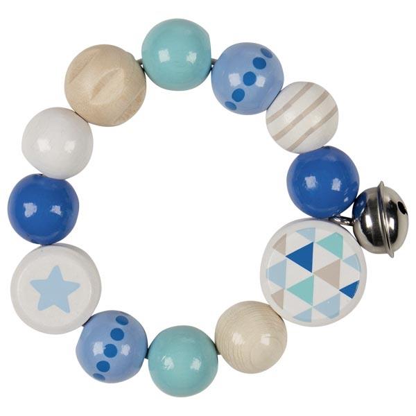 Бебешка дрънкалка еластична синя звезда -bellamiestore